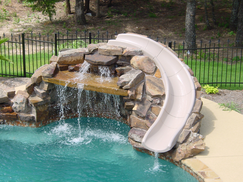 Pool slides seahorse pools spas for Pool design with slide